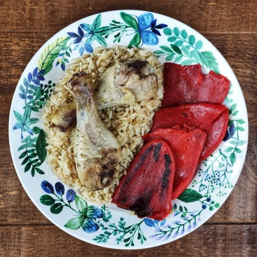 arroz jamoncitos pollo piquillos plancha