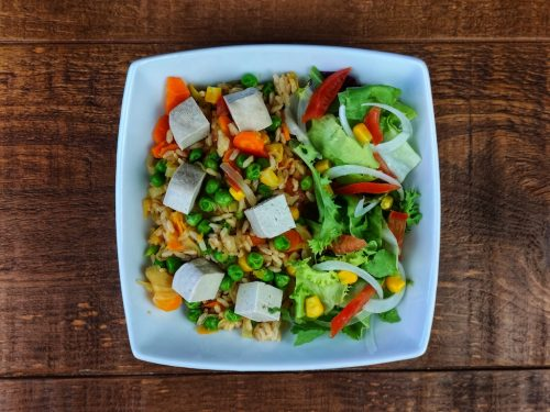 arroz salteado verduras tofu