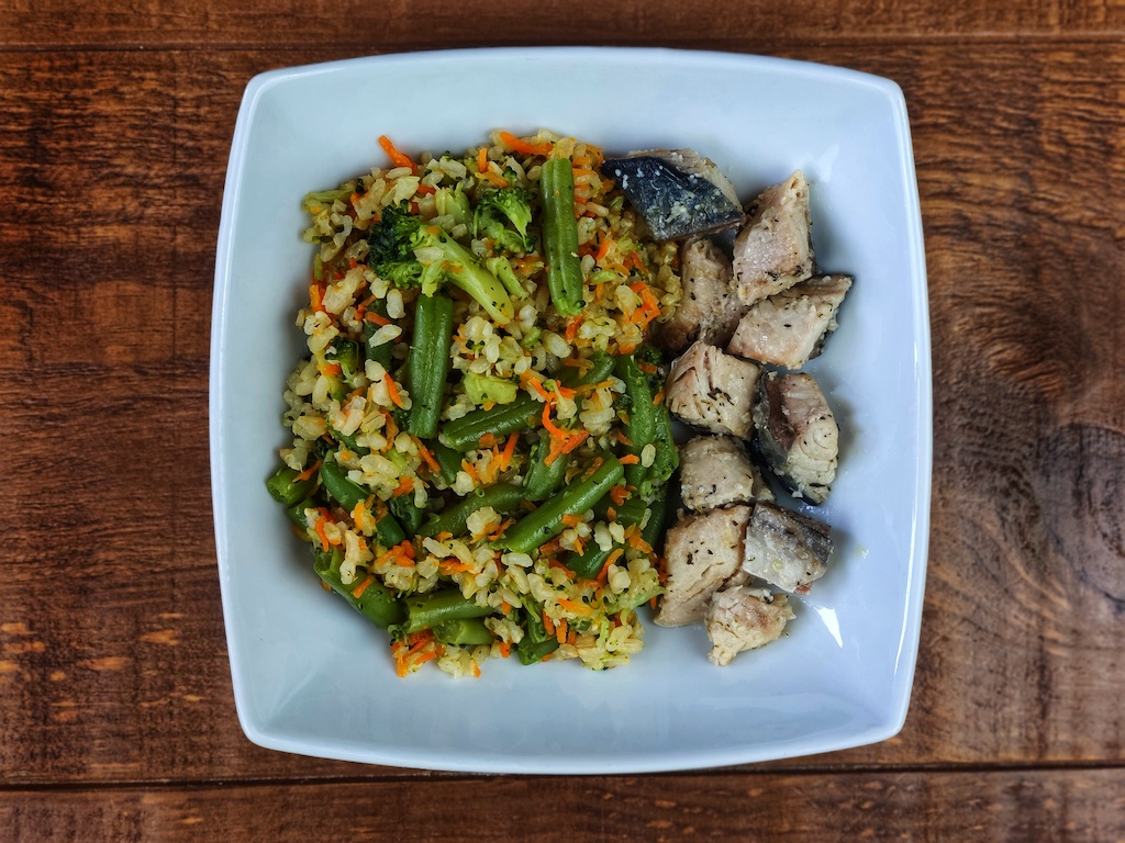 arroz salteado verduras verdel escabechado