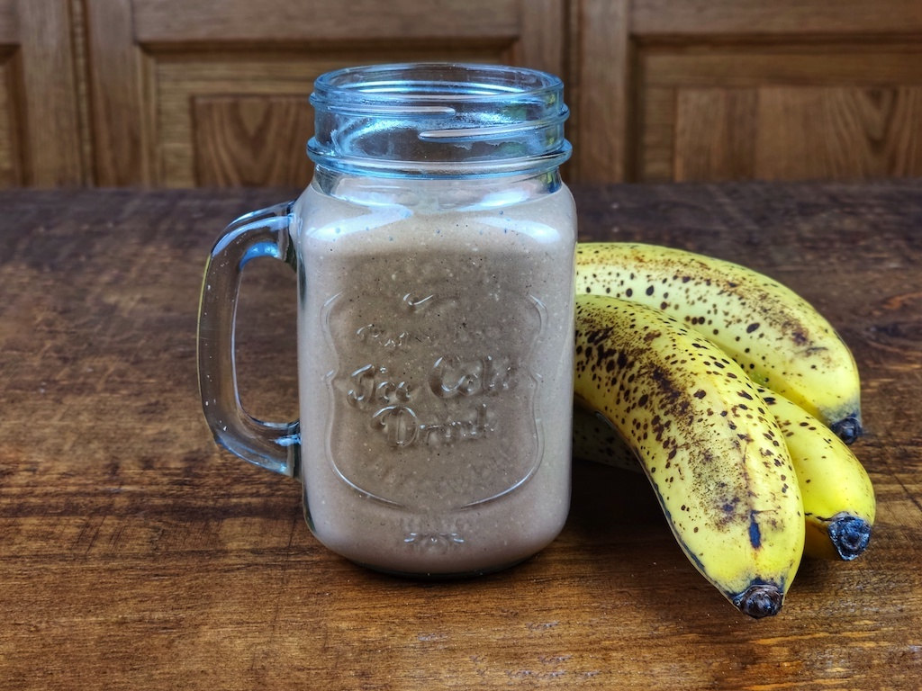 batido vegano avena platano avellanas cacao