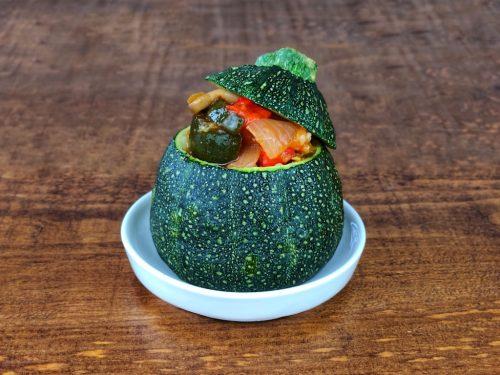 calabacin relleno verduras atun