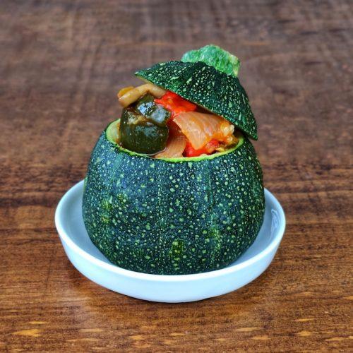 calabacines rellenos verduras soja texturizada
