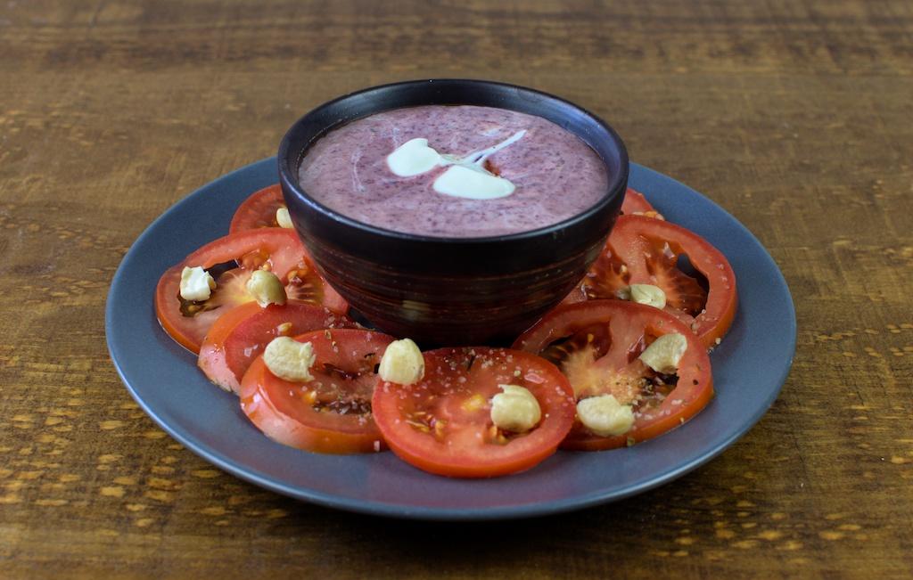 crema fria alubia roja ensalada tomate anacardos