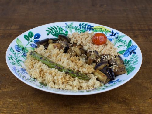 cuscus berenjena plancha atun vegano