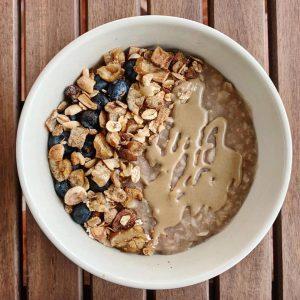 Porridge de avena con castañas y soja texturizada