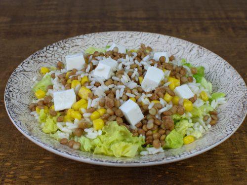 Ensalada de arroz con lentejas, atún y queso fresco