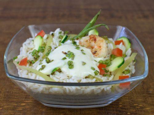 ensalada arroz pepino gambas