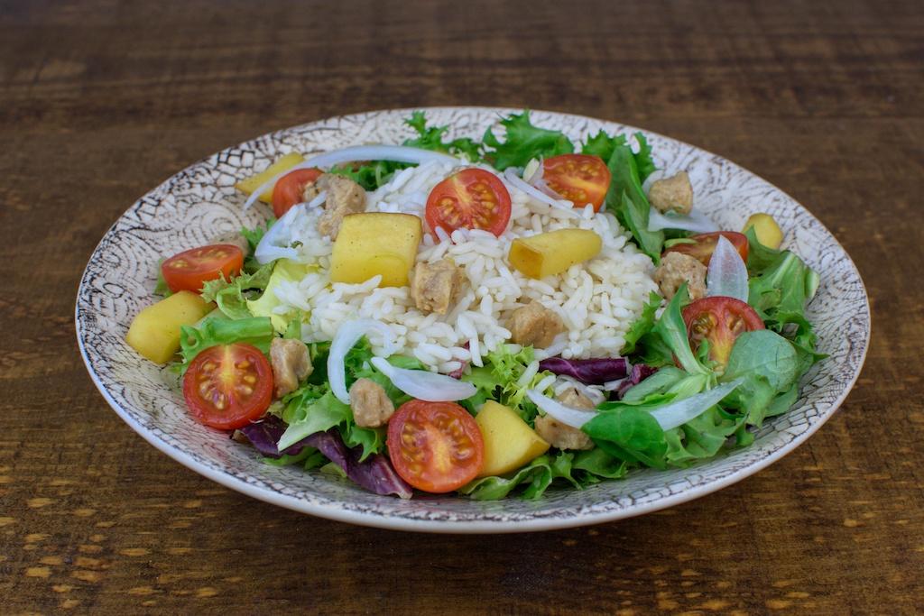 ensalada templada arroz manzana soja texturizada