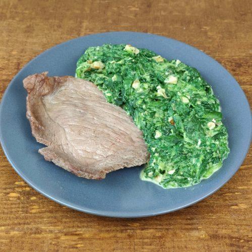 filete ternera plancha espinacas cremosas