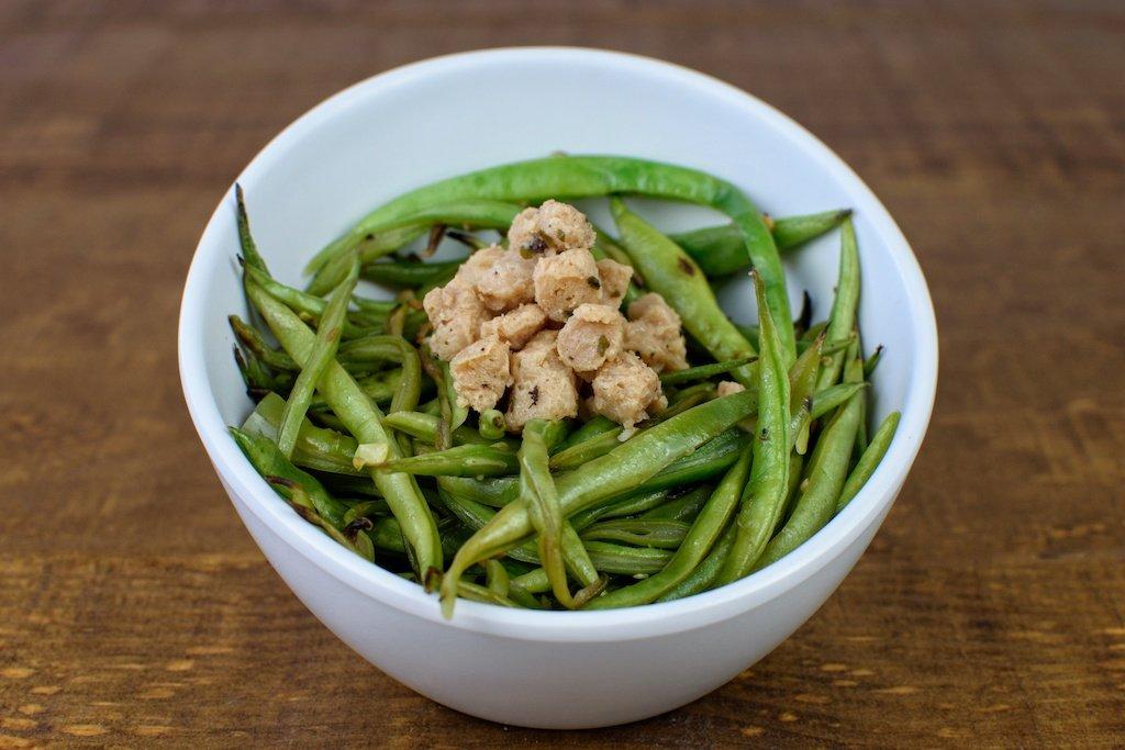 judias verdes salteadas soja texturizada wok