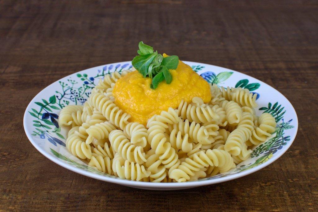 macarrones salsa zanahoria jengibre