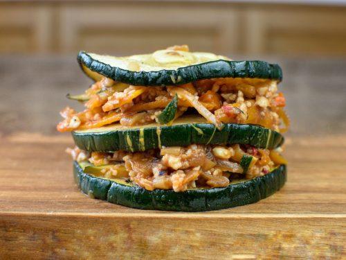 milhojas calabacin relleno soja verduras
