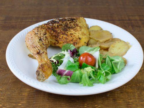 muslo pollo asado mostaza patatas