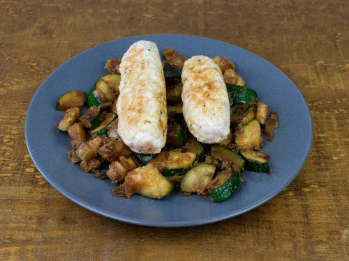 salchichas pavo curry salteado calabacin