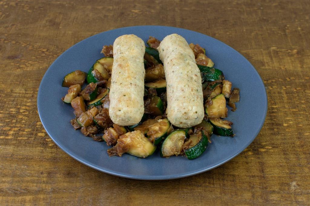 salchichas soja curry salteado calabacin