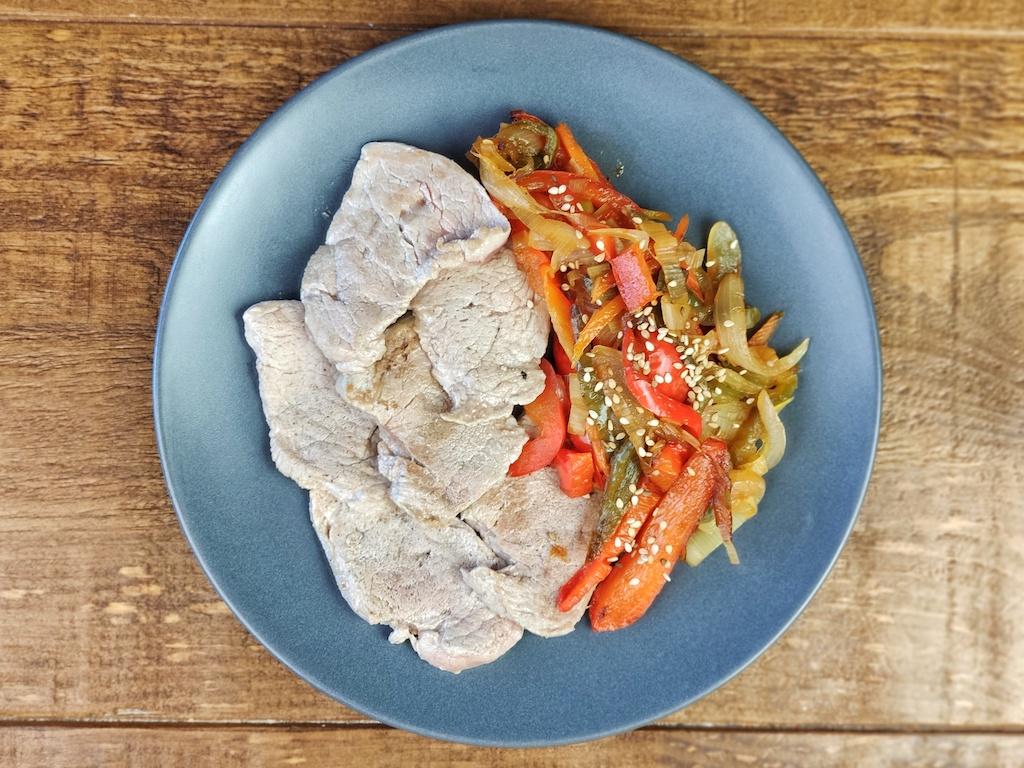 solomillo plancha verduras