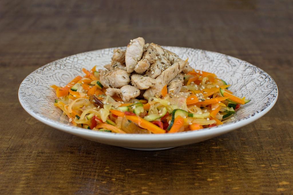 wok pavo verduras